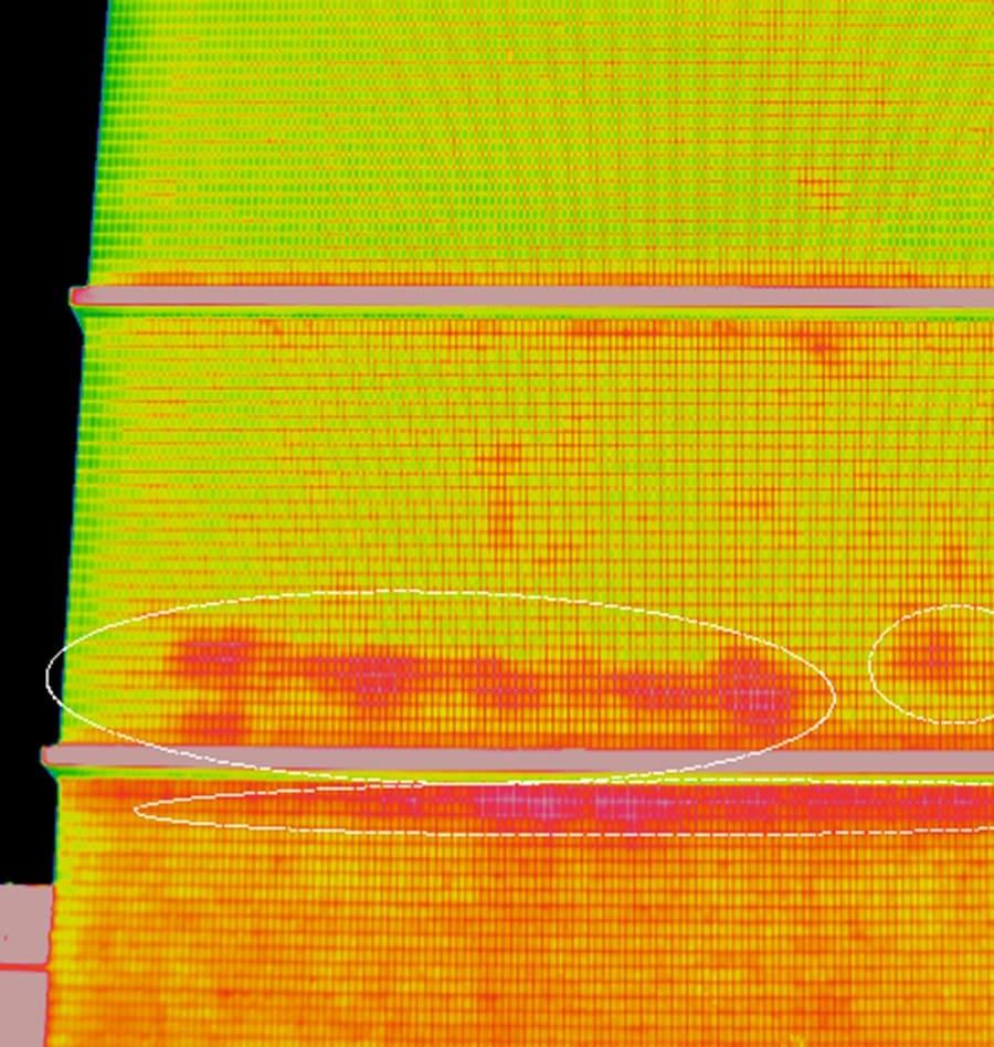 赤外線カメラでの熱画像の様子